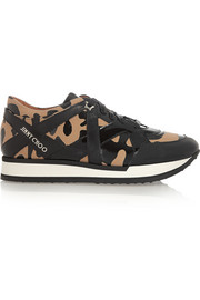 London leopard-print canvas and patent-leather sneakers