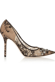 Lyzo crystal-embellished lace pumps