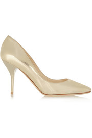 Jimmy Choo Mei metallic textured-leather pumps