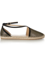 Donna metallic-striped suede espadrilles