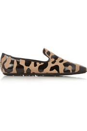 Jimmy Choo Wheel leopard-print canvas slippers