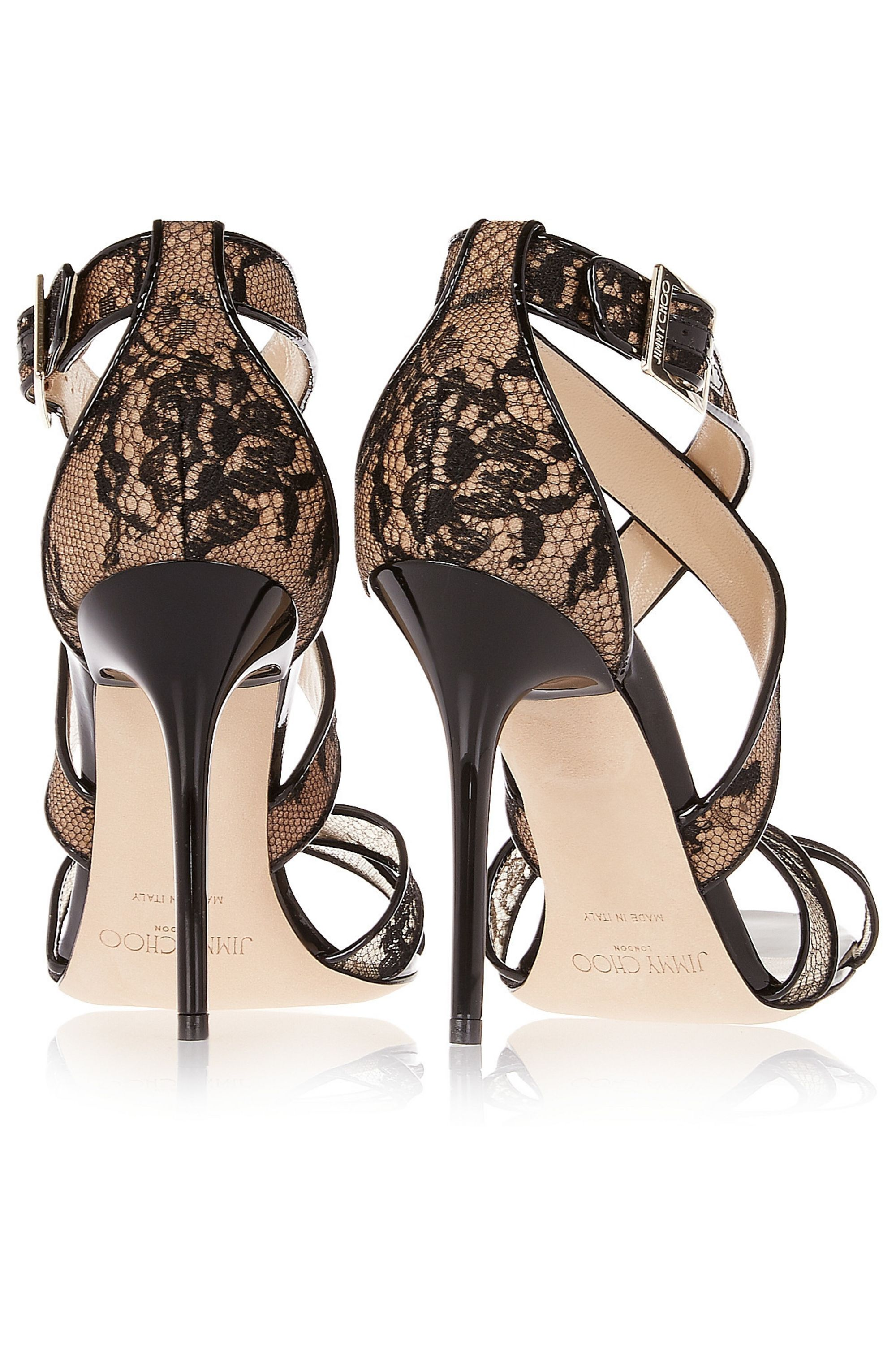 Jimmy Choo Lottie lace-covered mesh and patent-leather sandals