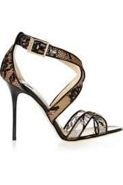 Lottie lace-covered mesh and patent-leather sandals