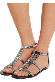Wyatt embellished metallic leather sandals