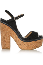 Jimmy Choo Naylor embossed suede and cork sandals