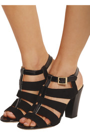Marquee suede and patent-leather sandals