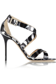 Lottie printed mirrored-leather sandals