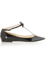 Glaze patent-leather point-toe flats