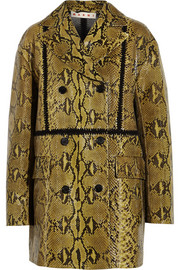 Marni Double-breasted glossed-python coat