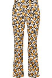 Printed cotton and silk-blend straight-leg pants