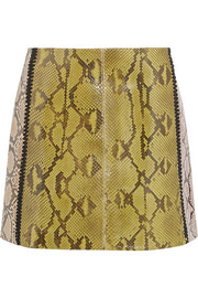 Marni Two-tone glossed-python mini skirt