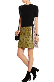 Two-tone glossed-python mini skirt