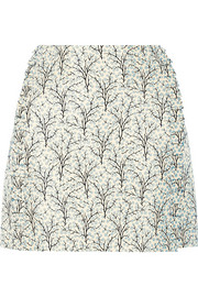 Printed cotton and silk-blend mini skirt