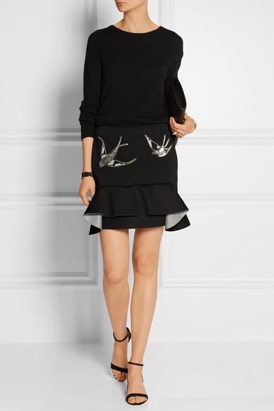 Sequin-embellished scuba-jersey mini skirt