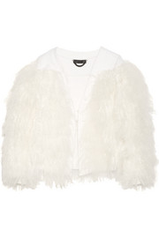 Shearling-trimmed wool and cashmere-blend jacket