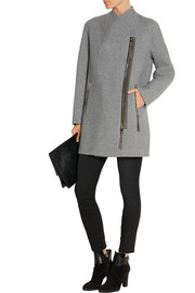 Suede-trimmed cashmere coat