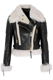 Cropped shearling-trimmed leather biker jacket