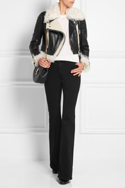 Burberry Prorsum Cropped shearling-trimmed leather biker jacket