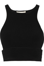 Jonathan Simkhai Cropped cutout ribbed-knit top
