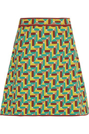 Jacquard-knit cotton-blend mini skirt