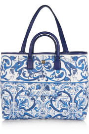 Escape printed textured-leather tote