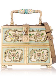 Dolce leather-trimmed printed wood shoulder bag