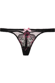 Adlina lace-embroidered tulle thong
