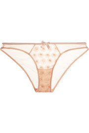 Casie embroidered stretch-tulle briefs