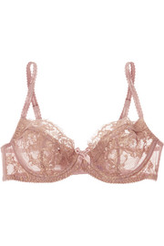 Iana metallic lace and stretch-tulle balconette bra