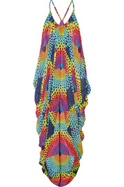 Electrolight printed georgette beach dress