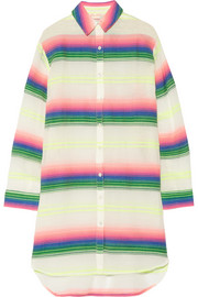 Striped cotton-blend gauze coverup