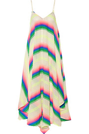 Striped cotton-blend gauze dress