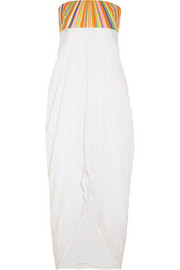 Embroidered crinkled-voile dress