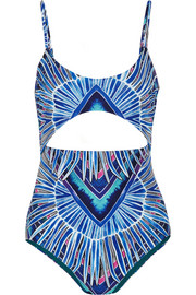 Rising Palm cutout printed swimsuit