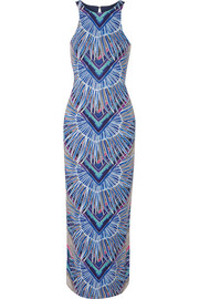 Printed stretch-jersey maxi dress
