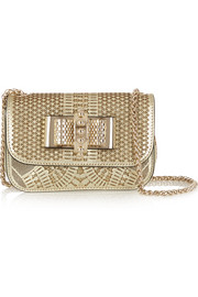 Christian Louboutin Sweet Charity metallic laser-cut leather and glittered PVC shoulder bag