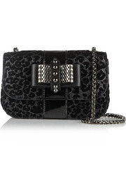 Christian Louboutin Sweet Charity flocked glittered leather shoulder bag