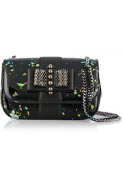 Sweet Charity flecked patent-leather shoulder bag