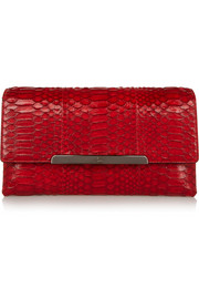 Rougissime python and leather clutch