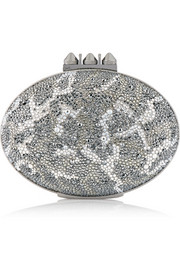 Mina crystal-embellished suede clutch