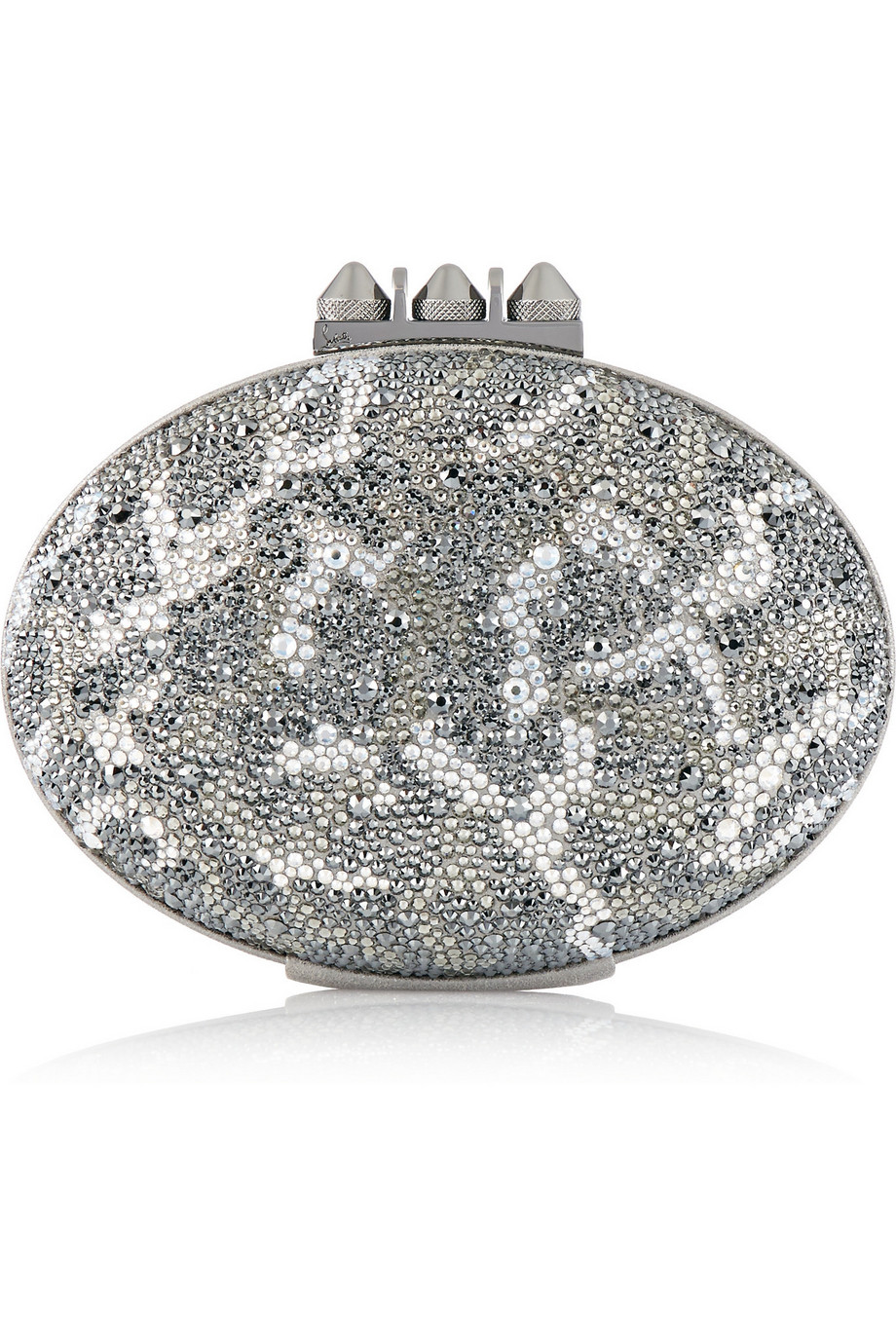 Christian Louboutin Mina Crystal-Embellished Suede Clutch, Leopard Print/Silver, Women's, Size: One size