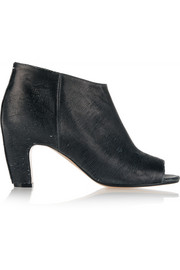 Textured-leather peep-toe ankle boots