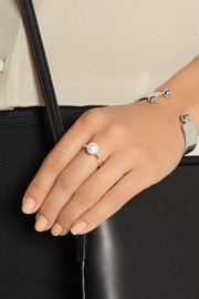 Rhodium-plated, faux pearl and cubic zirconia ring