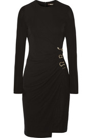 Embellished ruched stretch-jersey dress