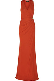 Embellished ruched stretch-jersey gown