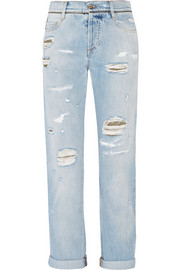Brocade-paneled distressed mid-rise boyfriend jeans
