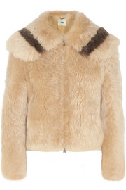 Cropped two-tone shearling jacket