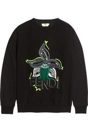 Embroidered silk and stretch-jersey sweatshirt