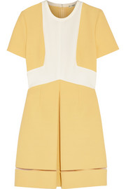 Two-tone cotton-crepe and silk-crepe mini dress