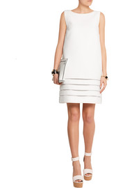 Fendi Mesh-paneled cotton-crepe mini dress